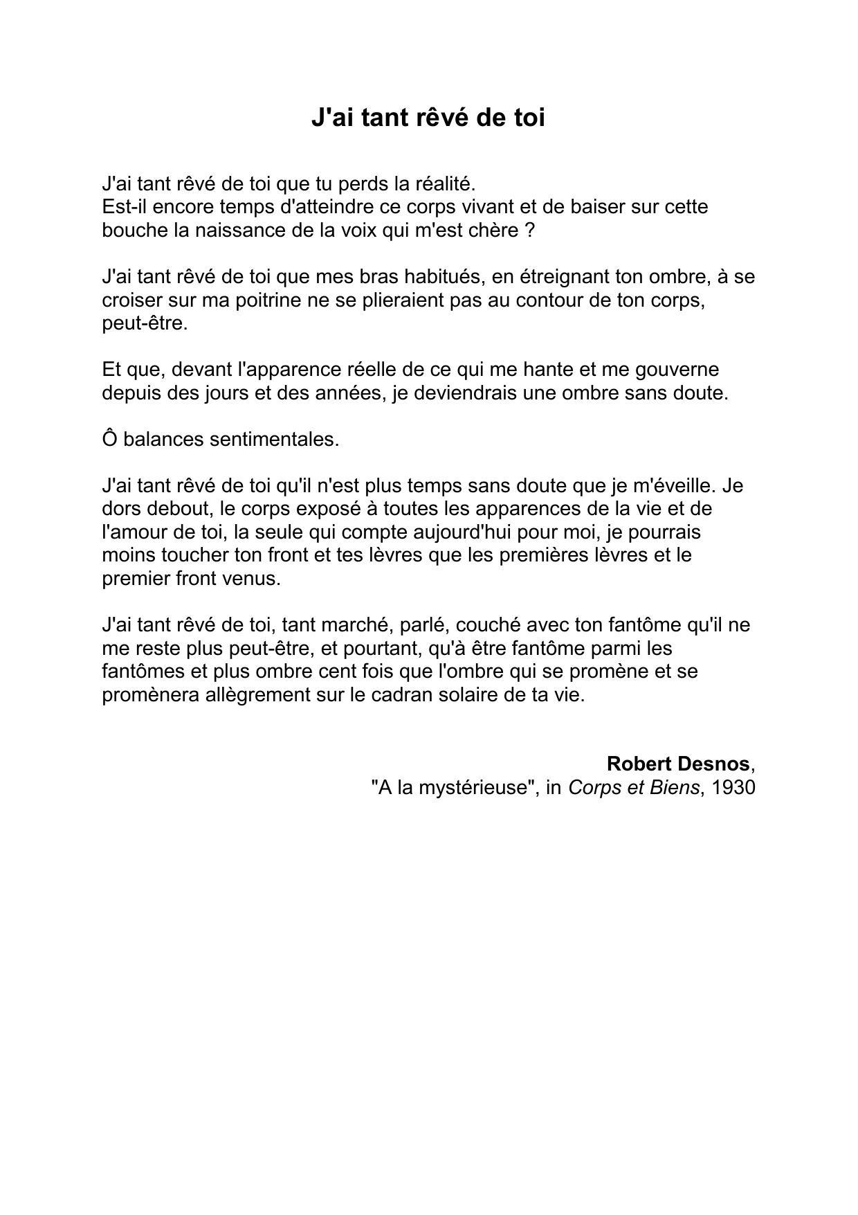 J'ai Tant Reve De Toi : Rêvé, Robert, Desnos, Parle, Texte?, L'avez-vous, Apprécié,, Nosdevoirs.fr