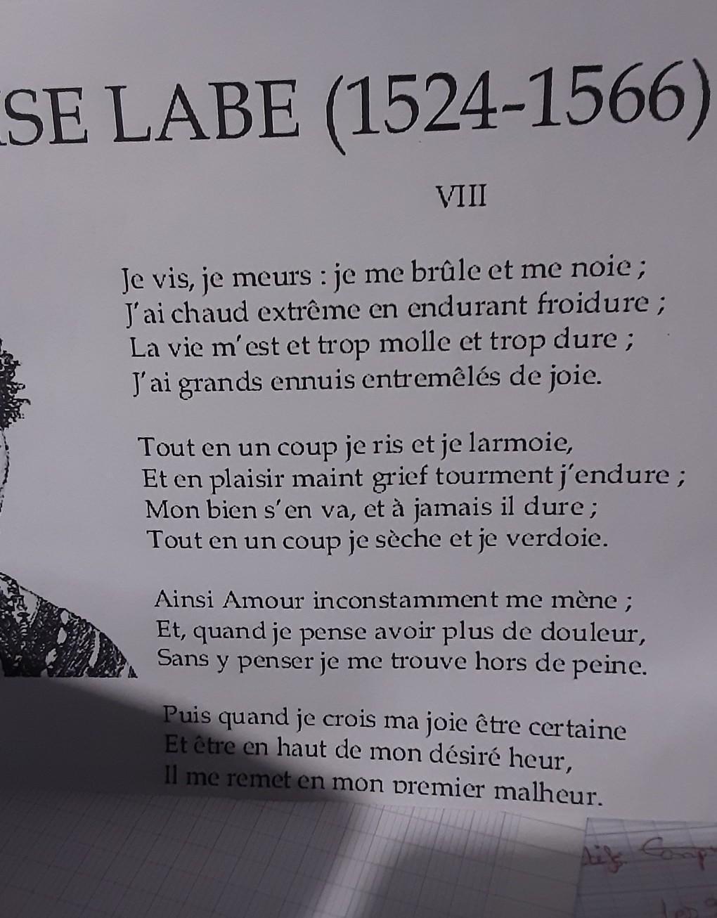 Je Vis, Je Meurs : meurs, Poème, Meurs, Parle, Premier, Deuxième, Troisième, Quatrième, Nosdevoirs.fr