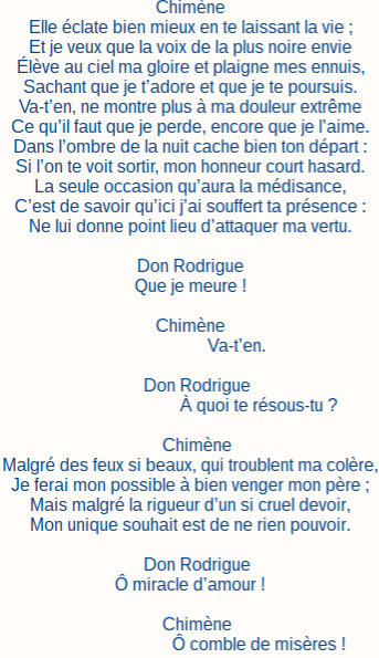 Le Cid Acte 3 Scene 4 : scene, Scene, Texte