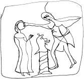 homme gifle femme Tapisserie Bayeux