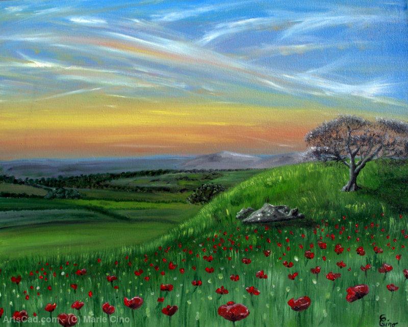 Art par Marie Cino  Marie Cino  arbre sur la colline fleurie