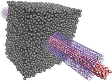 Le transport osmotique de molécules d'eau (les ensembles comprenant un atome d'oxygène en rouge et deux atomes d'hydrogène en blanc) à travers un nanotube de nitrure de bore transmembranaire (en mauve) permettrait de produire un courant électrique avec une grande efficacité. Les producteurs d'électricité exploitant l'énergie osmotique devraient apprécier cette amélioration. © Laurent Joly, Institut lumière matière