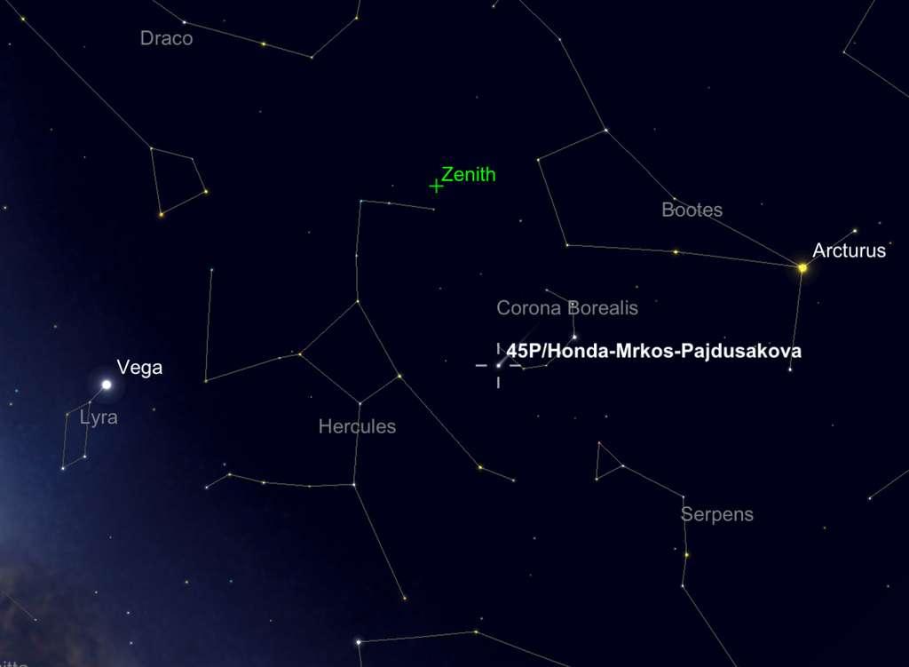 Position de la comète 45P/Honda-Mrkos-Pajdusakova, le 12 février en fin de nuit. © SkySafari