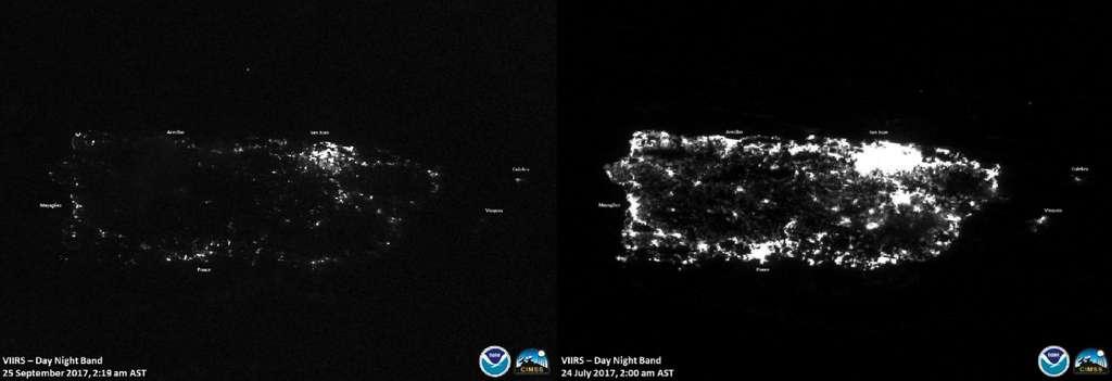 L'île de Porto Rico, avant (à droite, le 24 juillet 2017) et après (à gauche, le 25 septembre 2017) le passage de l'ouragan Maria le 20 septembre 2017. © NOAA