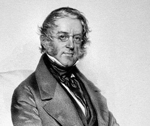 Wilhelm von Haidinger (1795-1871) était un minéralogiste, géologue et physicien autrichien. On lui doit la découverte en 1844 de ce qu'on appelle les brosses d'Haidinger. C'est un phénomène entoptique léger, où l'on peut distinguer un motif bleu et jaune caractéristique. Il est associé à l'observation d'une lumière polarisée à faible longueur d'onde. © Wikipédia-domaine public