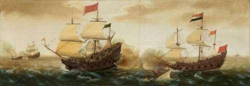 Bataille navale entre un galion espagnol et un navire hollandais, par Cornelis Verbeeck vers 1620. National Gallery of Art, Washington D.C., USA. © Wikimedia Commons, domaine public.