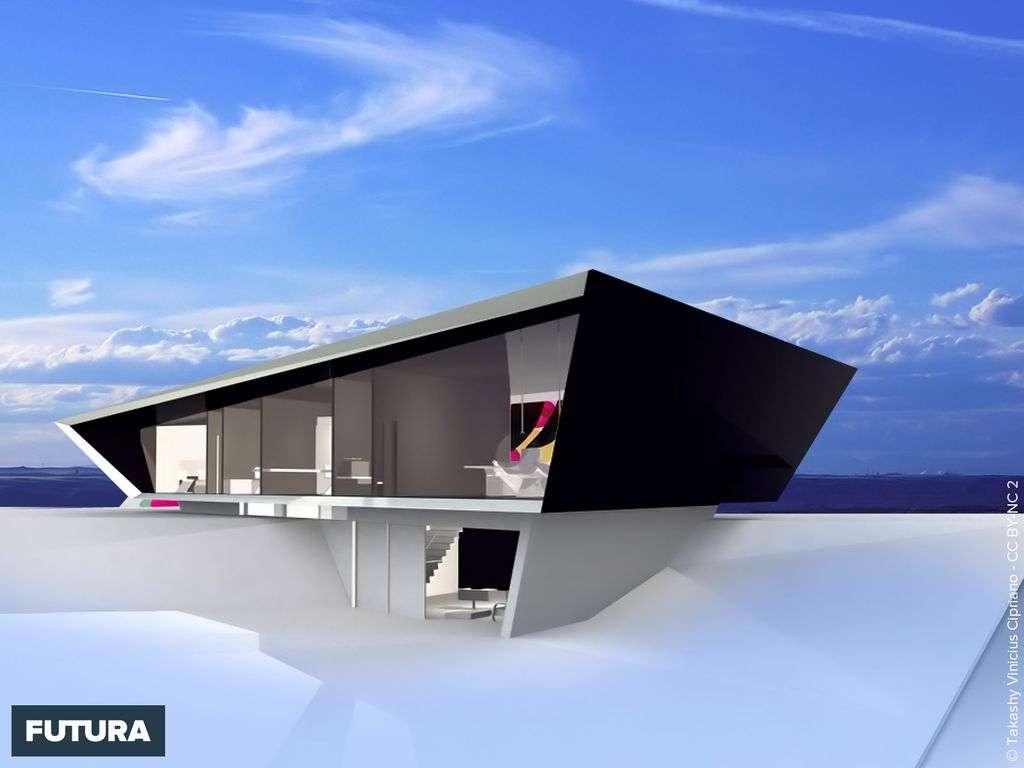 Fond dcran  Maison contemporaine vue mer