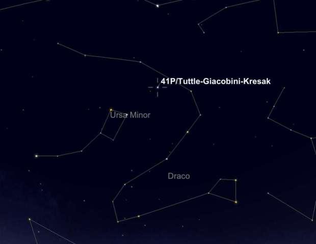 Position de la comète 41P/Tuttle-Giacobini-Kresák en fin de nuit, le 5 avril. © SkySafari