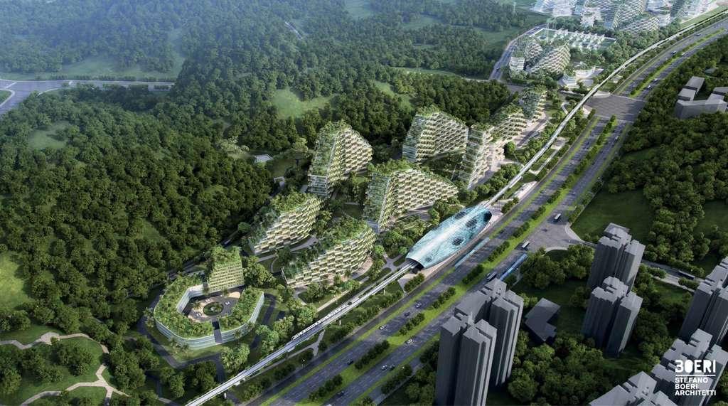 La ville-forêt sera reliée à Liuzhou par une ligne rapide utilisée par des voitures électriques. © Stefano Boeri Architetti
