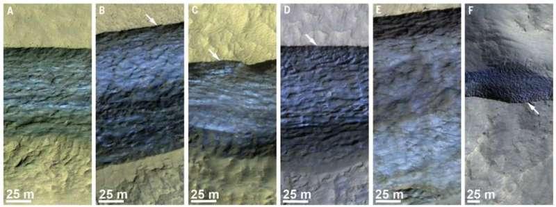 D'autres falaises observées par MRO où les empilements de glace sont visibles. © Nasa, JPL-Caltech, UA, USGS, Colin M. Dundas et al.