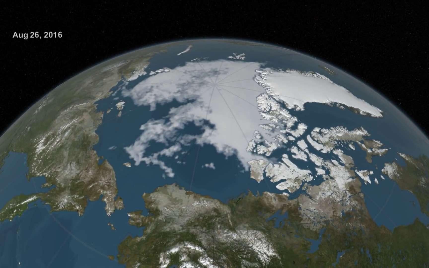 Vido  Timelapse de six mois de fonte de la banquise arctique estivale en 2016