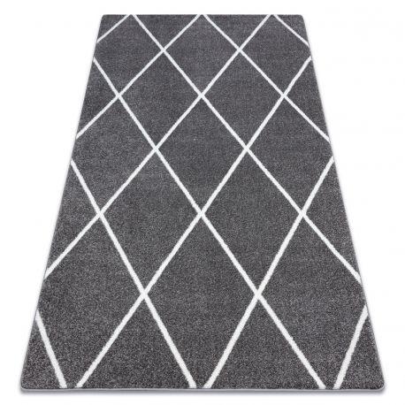 tapis sketch f728 gris et blanc trellis losanges