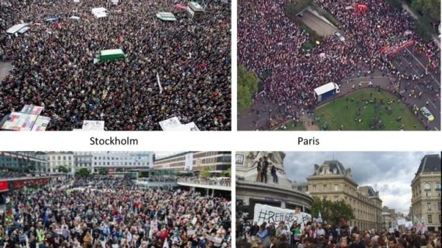 Les manifestations dans les grandes villes européennes en faveur des réfugiés ( various sources)