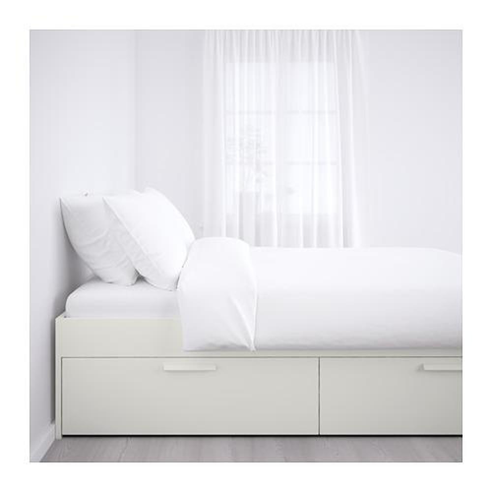 Brimnes Cadre De Lit Avec Tiroirs Blancs Lonset 160x200 Cm