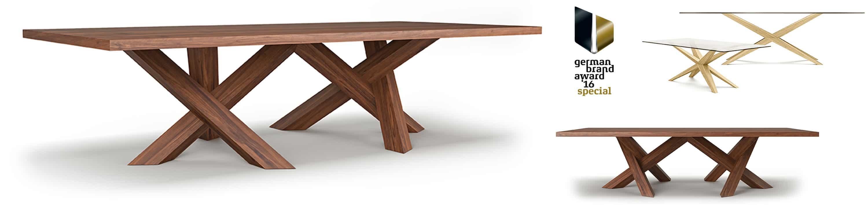 table de repas en noyer loft design et haut de gamme