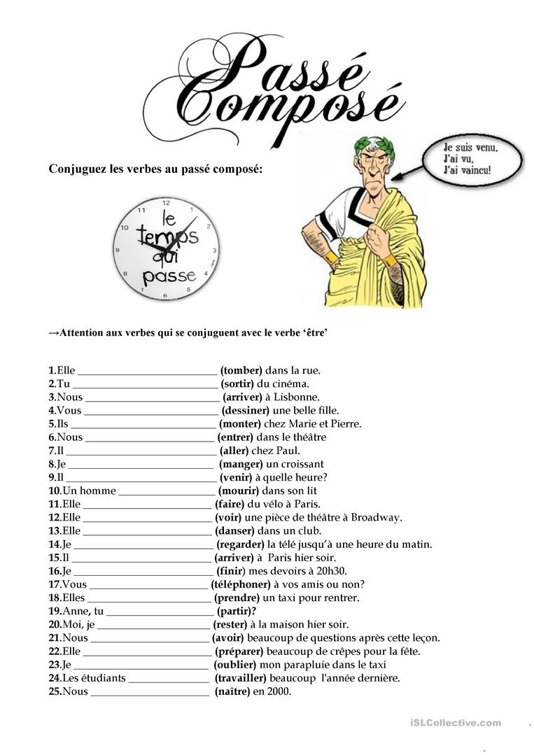 Le Passe Compose Worksheet. french le pass compos by
