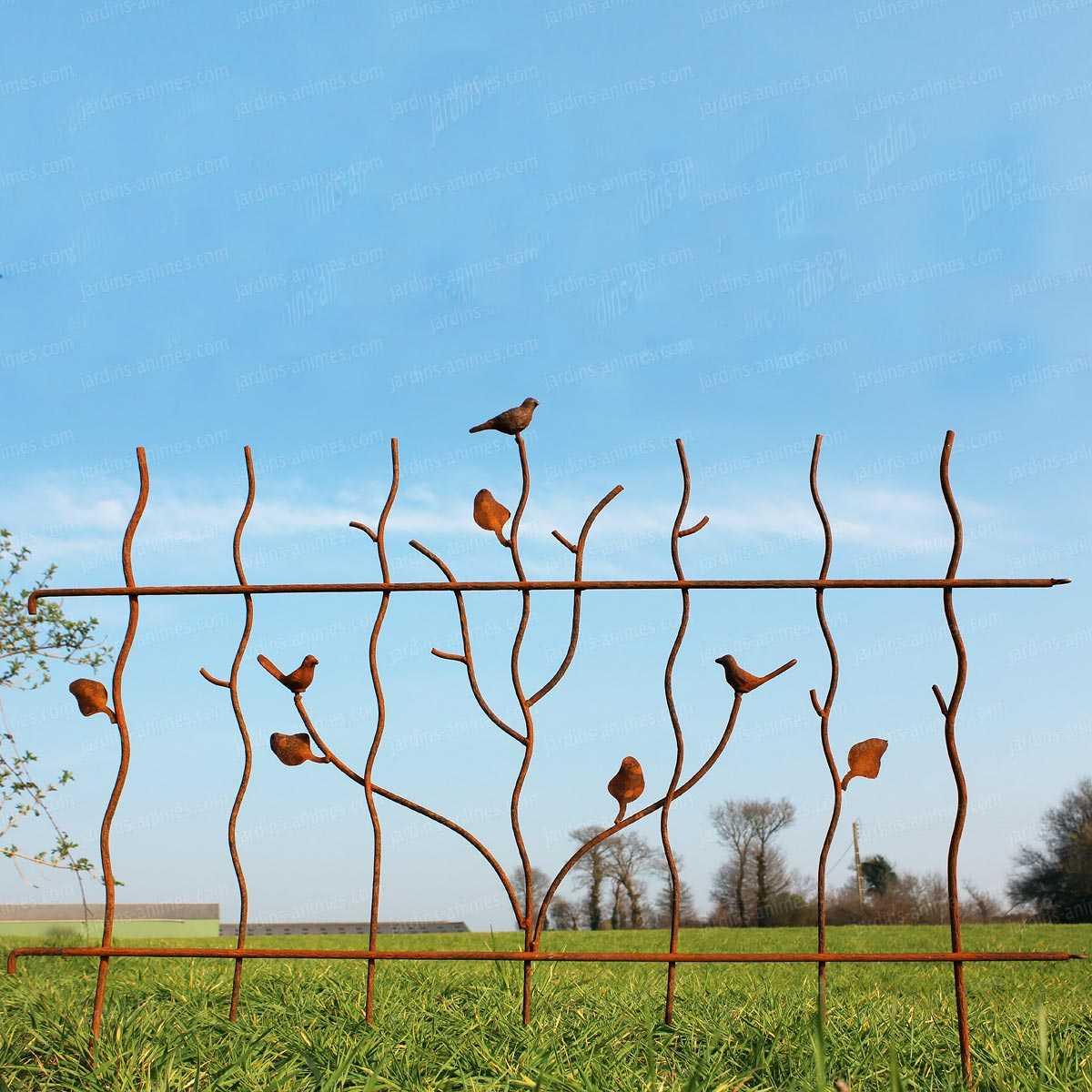 Bordure oiseau mtal acier L124cm x H92cm  Bordure de Jardin