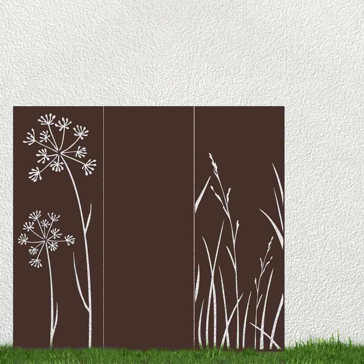 panneau decoratif exterieur en metal h 144 180cm motif vegetal vente au meilleur prix