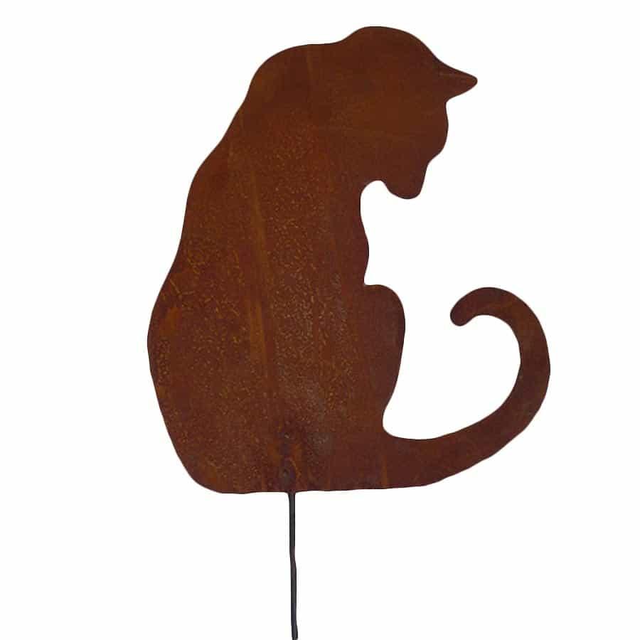 Silhouette chat assis intrigu  dco de jardin en mtal
