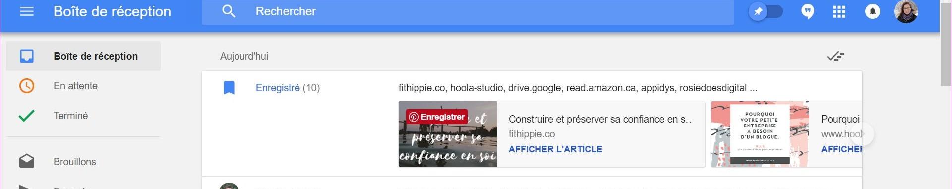 Exemple d'articles enregistrés dans Google Inbox