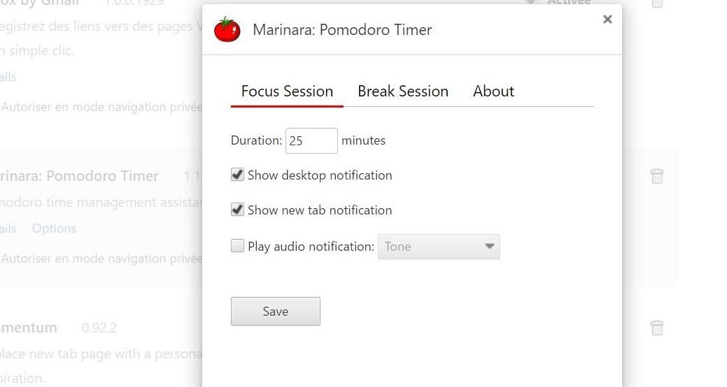 Extension Chrome Marinara selon la méthode Pomodoro