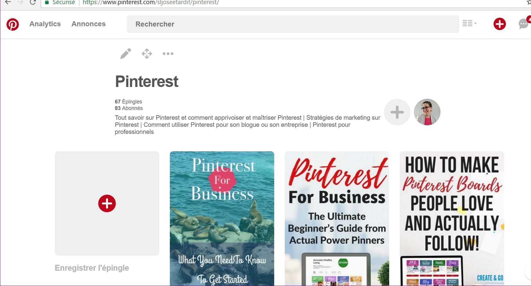 Exemple de description de tableaux dans Pinterest.