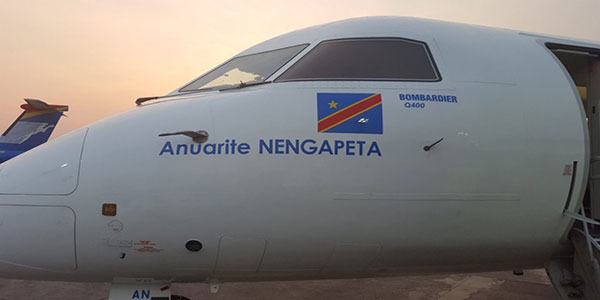 Photo: Bombardier Q400 « Anuarite NENGAPETA » de la companie Congo Airways