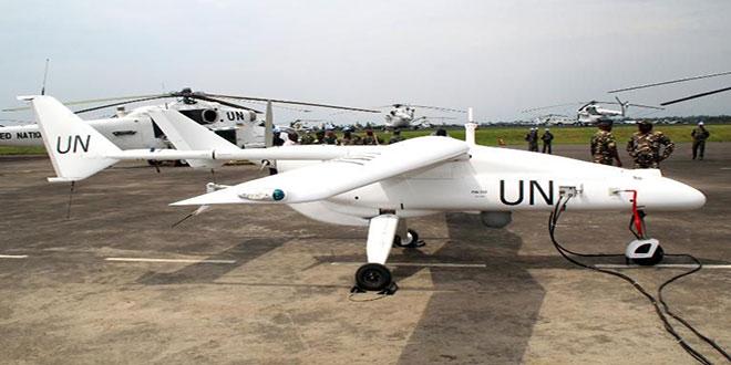 Photo d'un drone onusien, de couleur blanche, sur un tarmac, Est de la RDC.