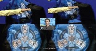 Facebook illuminati - Un logo des illuminatis à l'intérieur de la veste de Mark ZUCKERBERG, PDG et créateur de Facebook.
