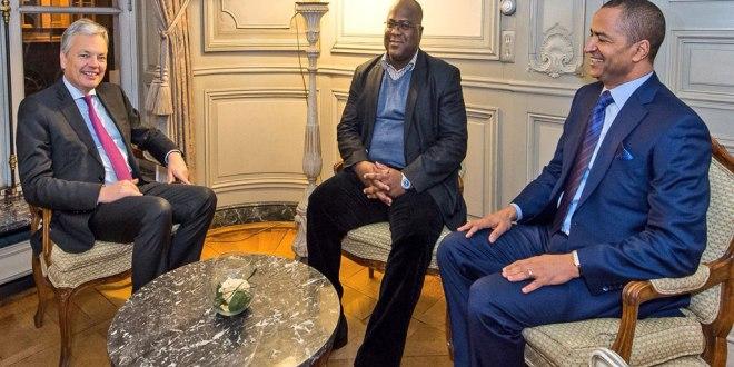 De gauche a droite - Didier Reynders, Felix Tshisekedi et Moise Katumbi.
