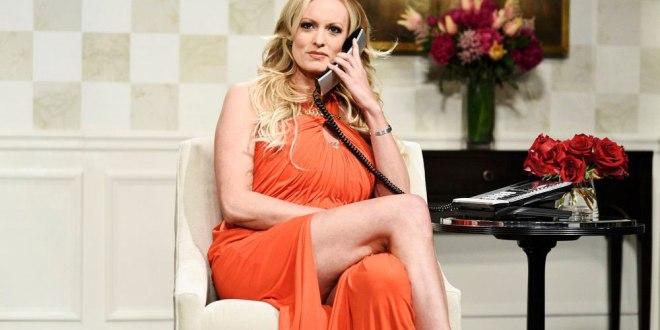 Actrice de films porno Stormy Daniels, lors de son apparition dans une émission satirique « Saturday Night Live » de la chaîne NBC.