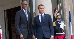 Paul KAGAME et Emmanuel MACRON, devant le Palais de l'Élysée, Mai 2018.