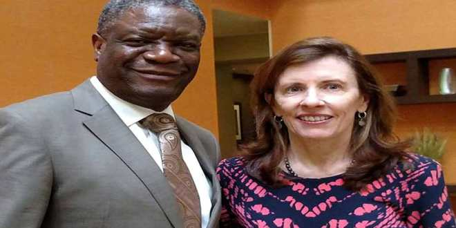 Dr Denis Mukwege [left] and Fistula Foundation CEO Kate Grant