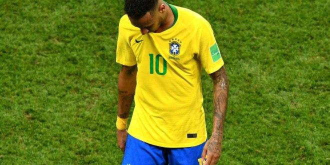 Neymar lors de l'élimination du Brésil en quarts de finale du Mondial le 6 juillet 2018 à Kazan.