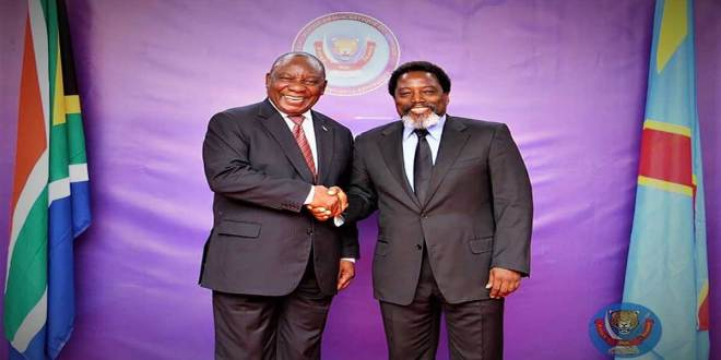 Poignée de main, Kabila et Ramaphosa, Kinshasa.