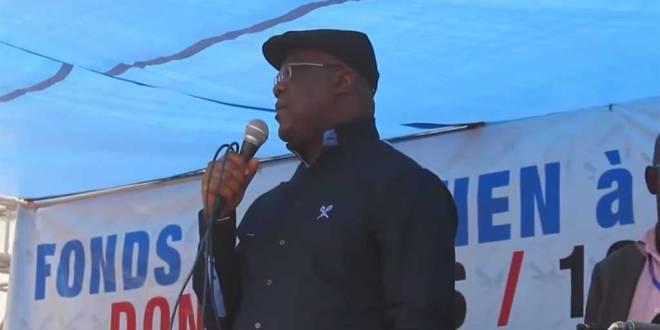 Felix-Antoine TSHISEKEDI TSHILOMBO dit Fatshi, lors d'un meeting a Kinshasa.