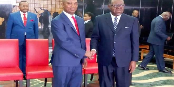 Ramazani Shadary, candidat du FCC de Kabila a la présidentielle 2018 et Hage GEIGOB, Président Namibien et Président en exercice de la SADC.
