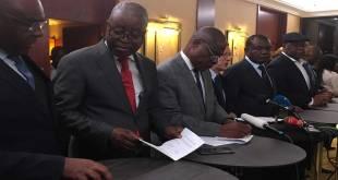 Opposition congolaise, signature de l'accord désignant le candidat commun a la présidentielle 2018.