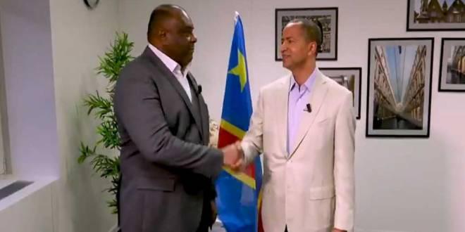 Soutien a Fayulu, poignée de main entre Jean-Pierre BEMBA et Moise KATUMBI CHAPWE.