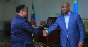 Joseph Olenghankoy [gauche] reçu par Fatshi, President de la RDC.