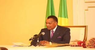 Denis SASSOU NGUESSO, president du Congo Brazzaville, en train de parler.