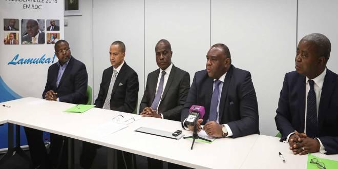 Membres de la Coalition Lamuka, lors d'une reunion.