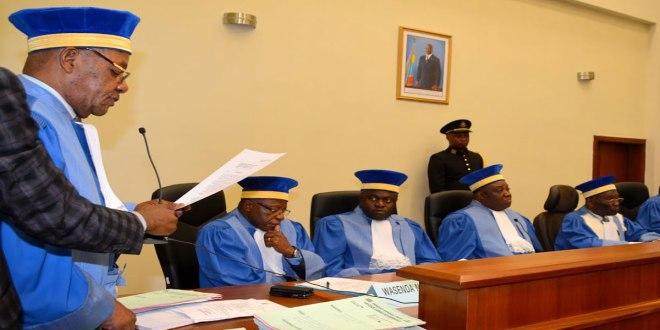 Les juges de la Cour Constitutionnelle en RDC, lors d'une audience.