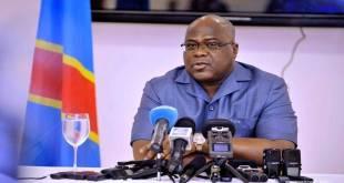 Fatshi, President de la RDC, lors d'une conférence de presse.