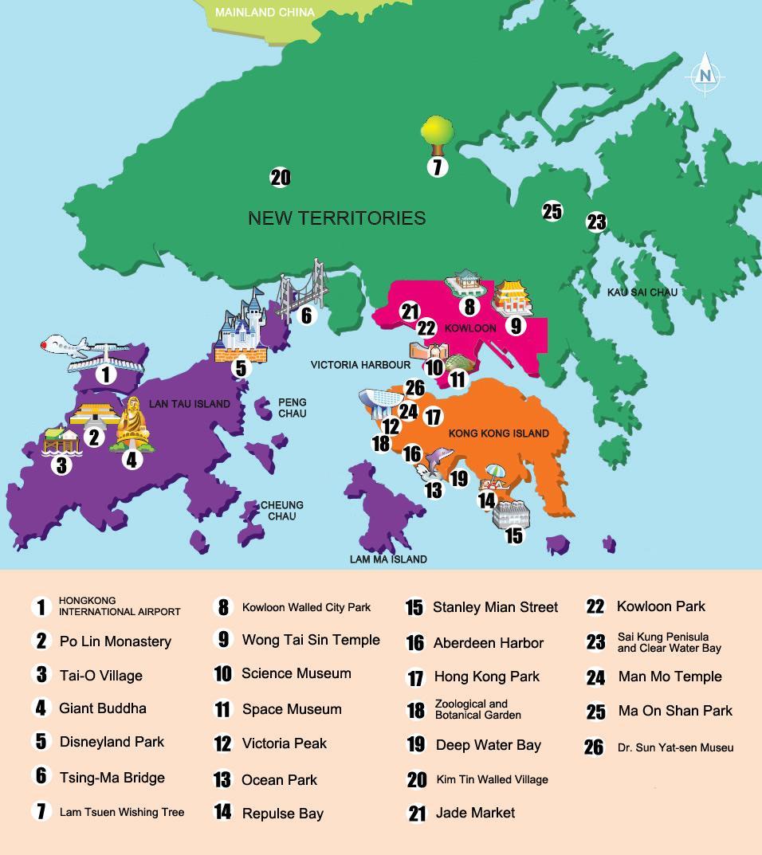 De nouveaux territoires de Hong Kong carte - carte de nouveaux territoires de Hong Kong (Chine)