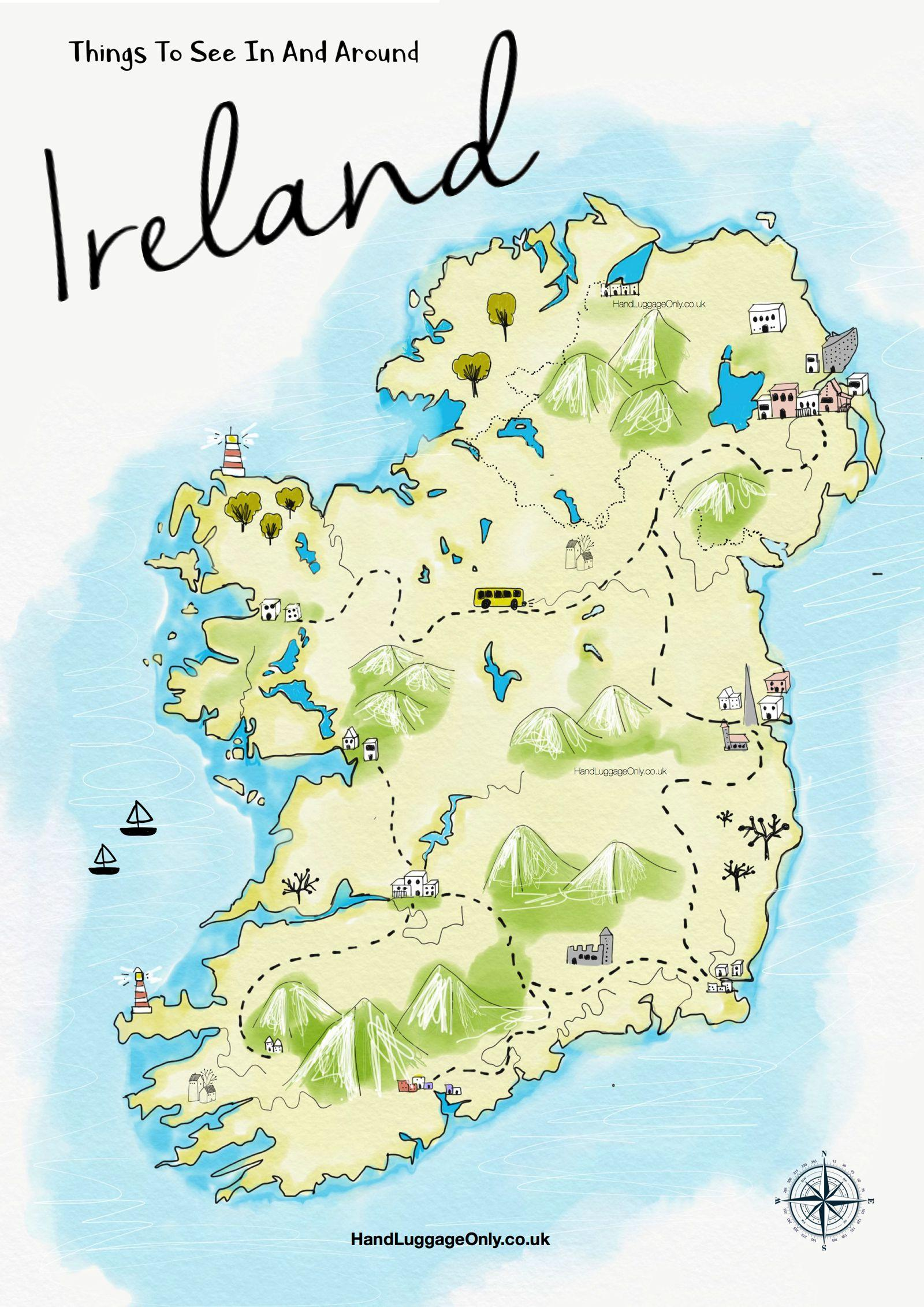 Que Faire En Irlande : faire, irlande, Carte, L'irlande,, Choses, Faire, Lieux, Visiter, Irlande, (Europe, Europe)