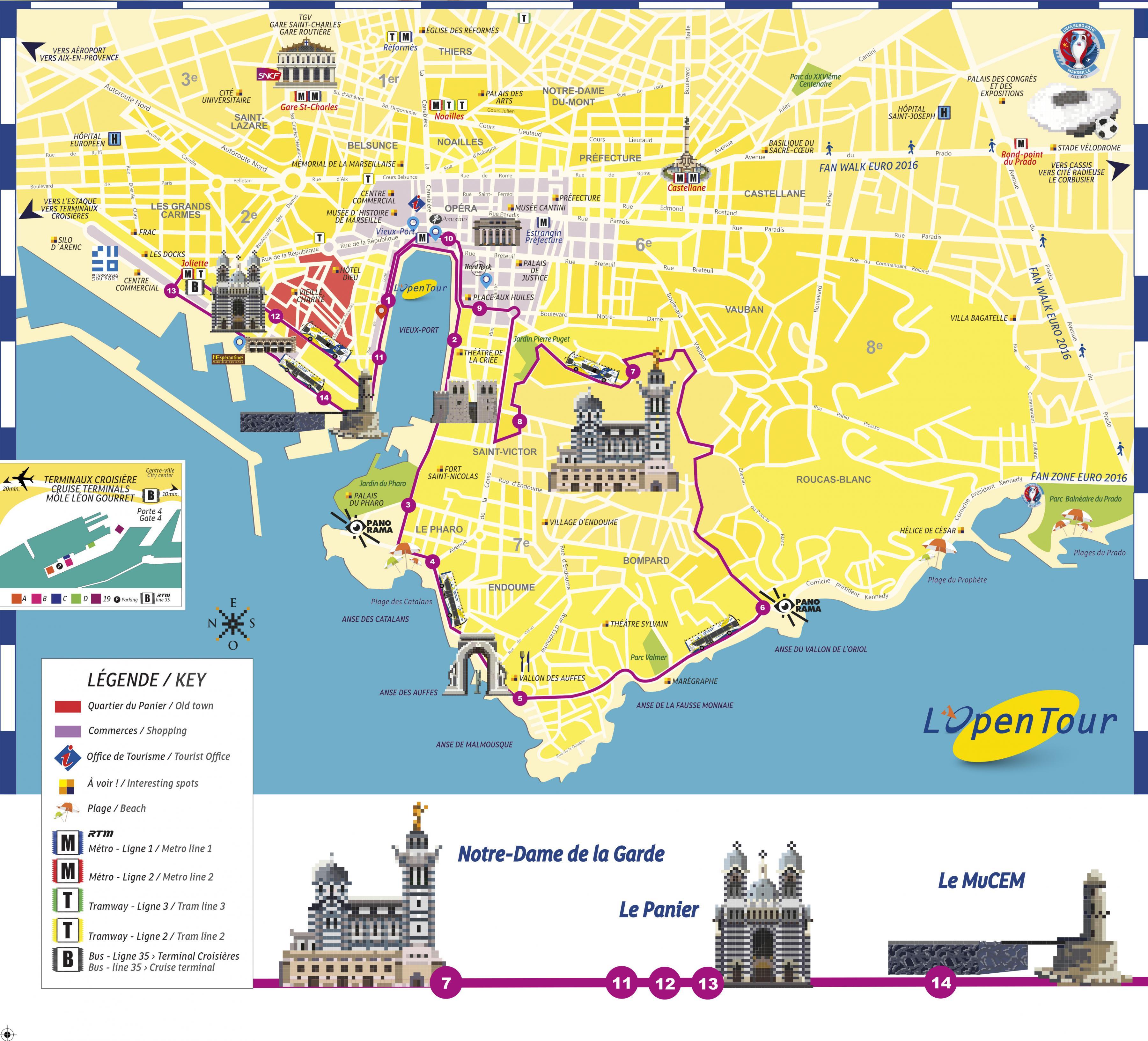 Hop on hop off de Marseille carte - Marseille hop on hop off bus de la carte de l'itinéraire (Provence-Alpes-Côte d Azur - France)
