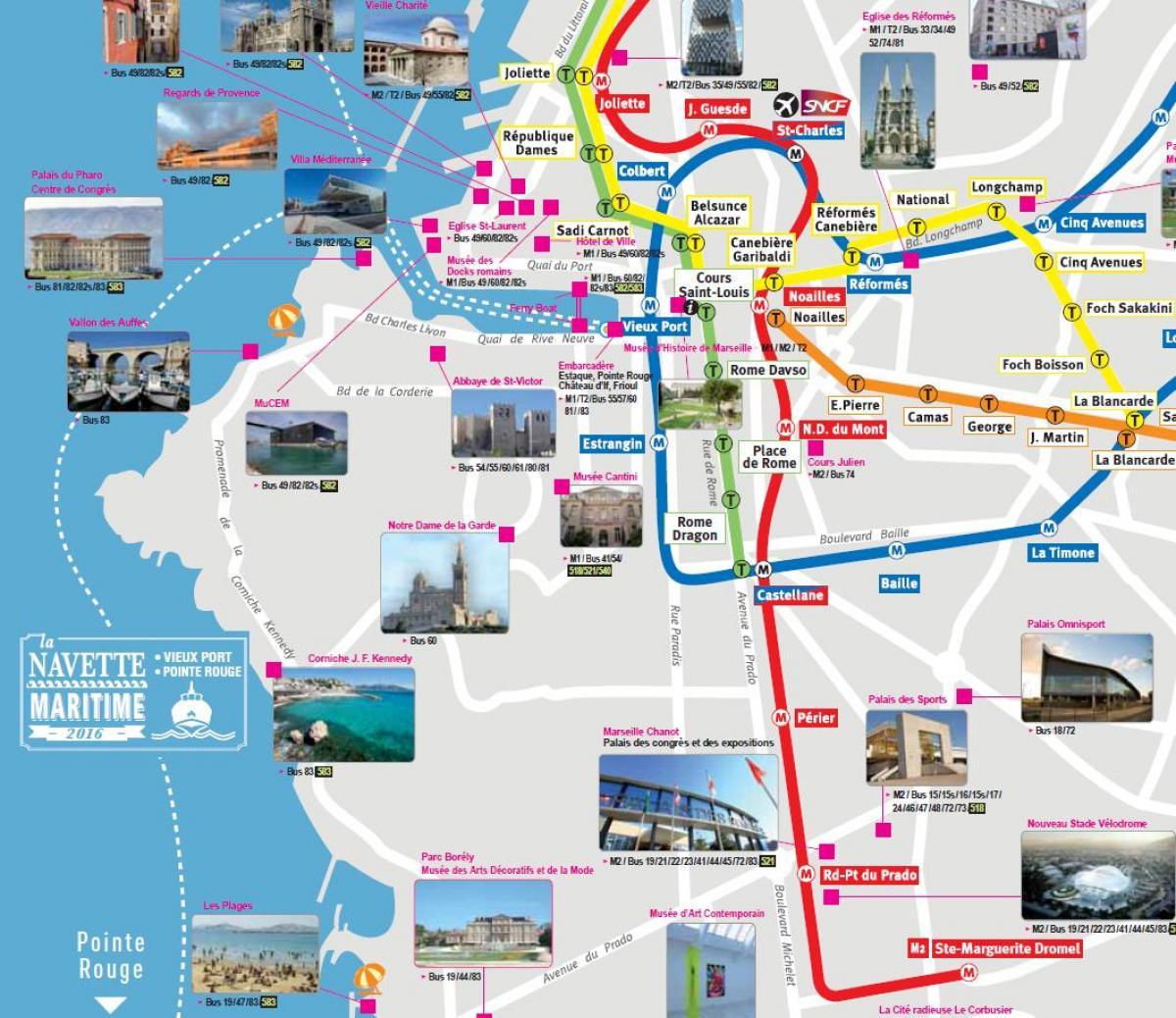 Marseille attractions touristiques de la carte - Marseille carte de visites (Provence-Alpes-Côte d Azur - France)