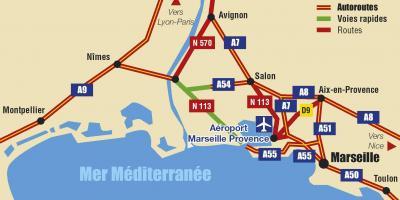 Marseille autoroute carte - carte de Marseille sur l'autoroute (Provence-Alpes-Côte d Azur - France)