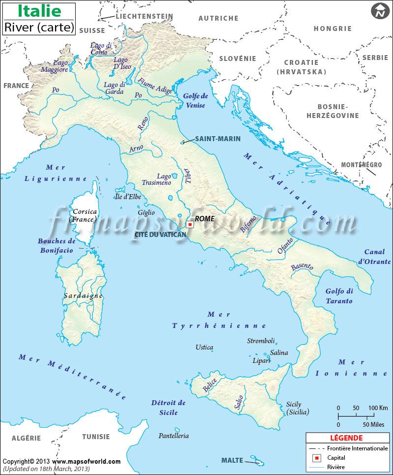 Carte Des Fleuves Du Monde : carte, fleuves, monde, Italie, Rivière, Carte